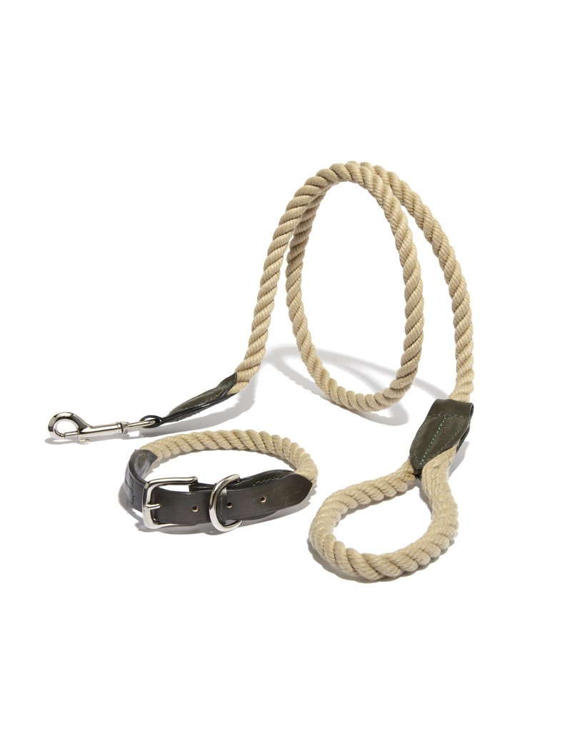 Leather Rope Dog Collar & Leash Set