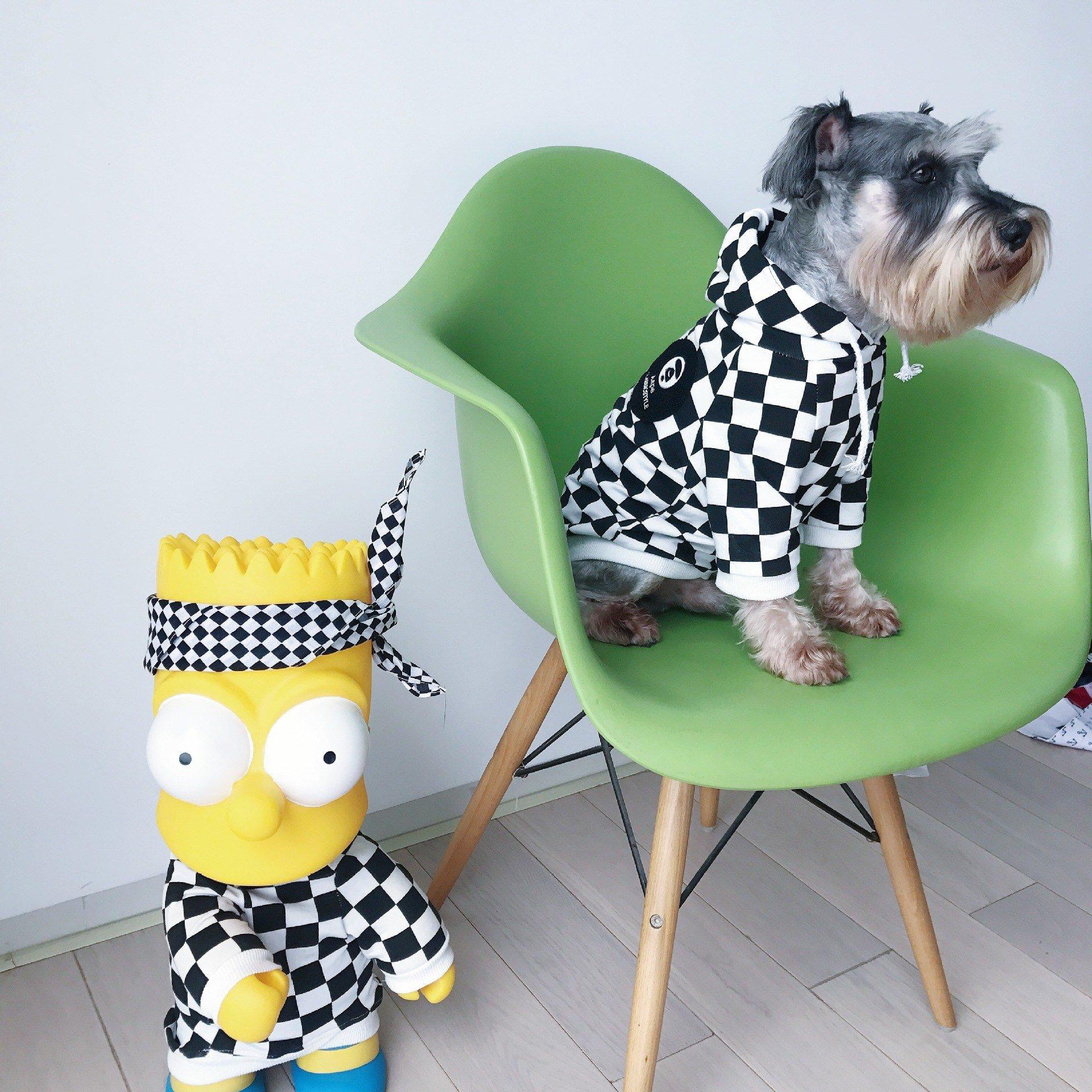 Barking Pup Checkerboard Dog Hoodie