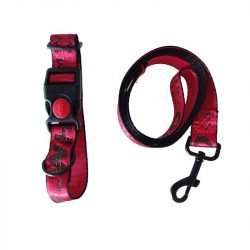 Toy Breed Woof-White Leash & Dog Collar Set