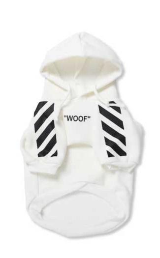 "Woof-White ""Woof"" Dog Hoodie - White"