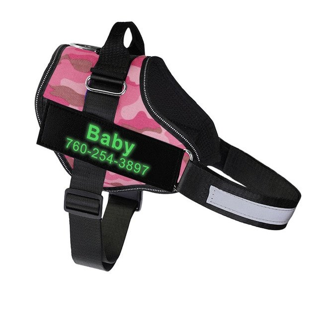 Fido's Personalized No Pull Dog Harness – Pink Camouflage