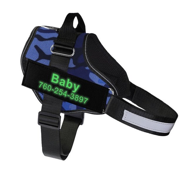 Fido's Personalized No Pull Dog Harness – Blue Camouflage